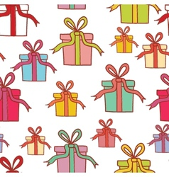Seamless pattern with colorful present boxes for vector image