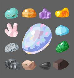 Semi precious gemstones stones and mineral stone vector