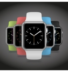 Set of 5 modern shiny sport smart watches with vector