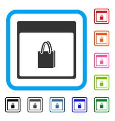 Shopping bag calendar page framed icon vector