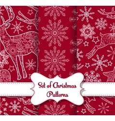 Snowflakes and derers seamless pattern set vector image