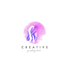 Sv watercolor letter logo design with purple vector
