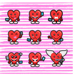 Valentines day heart emoji stitch patch set vector