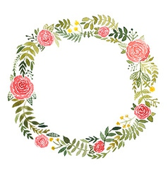 Watercolor wreath with roses and leaves vector