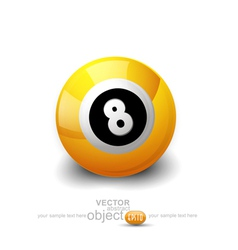 yellow ball with the number 8 on a white backgroun vector image vector image