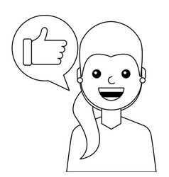 young woman happy with like message avatar vector image
