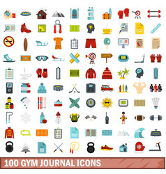 100 gym journal icons set flat style vector image vector image
