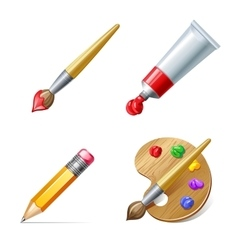 Education icons pencil palette paint tube and vector