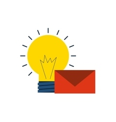 bulb light with business icon vector image