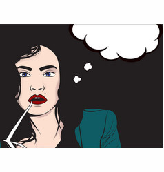 Comics style woman with glass vector