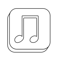 Square silhouette button with contour musical note vector