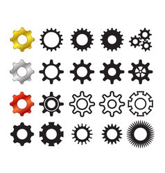 Set of cog icons in many style vector