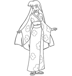 Asian woman in kimono coloring page vector