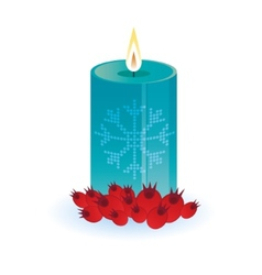 Lighting round thick candle with snowflake vector