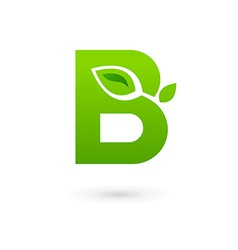 Letter B eco leaves logo icon design template vector image