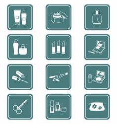 Cosmetics icons  teal series vector