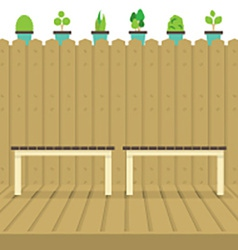 Empty chairs on wood wall and ground with pot vector