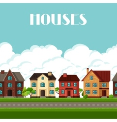 Town seamless border with cottages and houses vector
