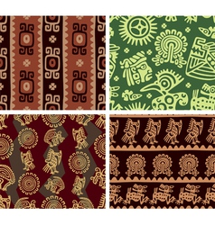 Set of mexican seamless tiles vector