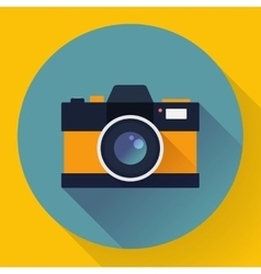 Flat style with long shadows camera icon vector