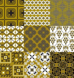9 retro floral geometry seamless patterns vector image vector image