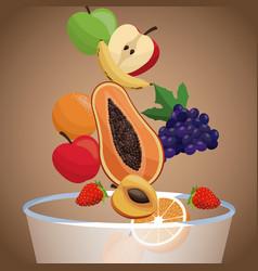 Bowl fruit healthy diet vector
