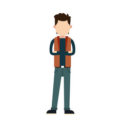 Character young man male cross arm casual vector