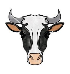 cow head horns aminal rural farm vector image vector image
