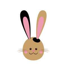 Cute easter bunny face cheerful vector
