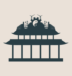 energy and power icons on the pagoda roof vector image vector image