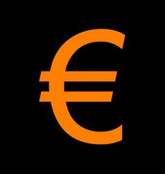 Euro sign orange icon on black background old vector