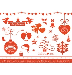 Flat christmas icons symbols vector