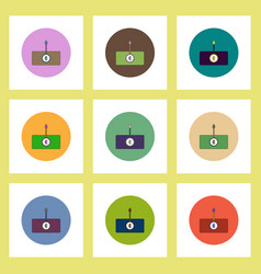 Flat icons set of currency rate concept on vector