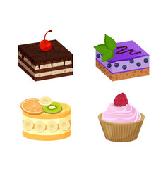 four sweet dessert posters vector image vector image