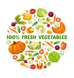 Fresh farm food round concept vector