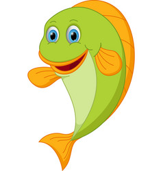 happy fish cartoon vector image vector image