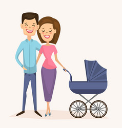 Happy young family couple with baby carriage vector