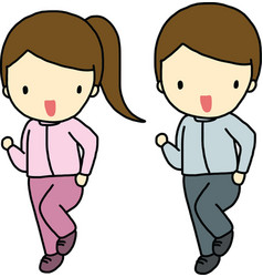Jogging boy and girl vector image vector image