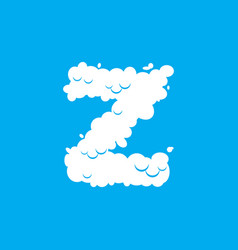 Letter z cloud font symbol white alphabet sign on vector