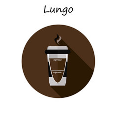 lungo paper coffee cup with hot coffee in flat vector image