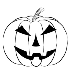 Pumpkin lantern icon in outline style isolated on vector image