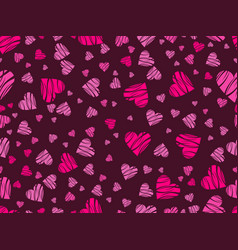 seamless pattern with hearts and ornament vector image