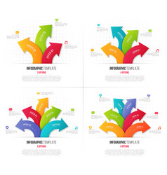 Set of 3-6 options infographics with branching vector