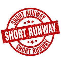 Short runway round red grunge stamp vector