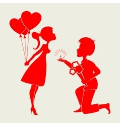 Silhouette of loving couple with a wedding ring vector