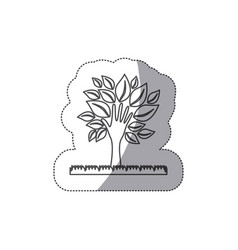 Silhouette tree with leaves and grass icon vector