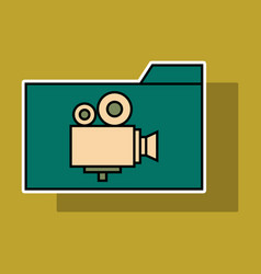 Sticker of folder full of entertainment and vector
