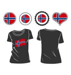 T-shirt with the flag of norway vector