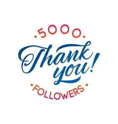 Thank you 5000 followers card thanks vector image