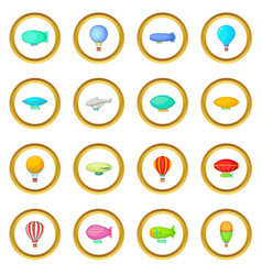 Vintage balloons icons circle vector